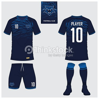 4b9d17838 Football t-shirt mock up. Front and back view soccer uniform. Flat football  icon on blue label. Vector.