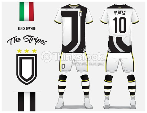 Soccer Jersey Or Football Kit Template For Club Black And White Stripe Shirt