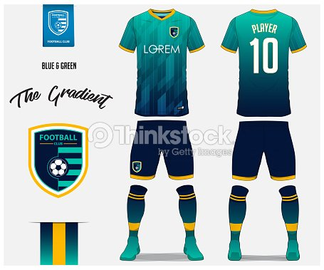 6bd61881d Soccer jersey or football kit template for football club. Blue and green  gradient football shirt