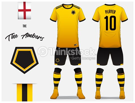 Soccer jersey or football kit template for football club. Yellow football  shirt with yellow sock and black shorts mock up. Front and back view soccer  ... b8926cfed