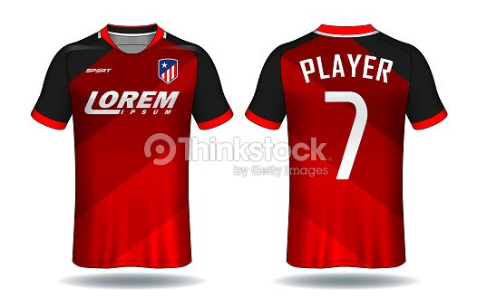 7f5da7c96 Soccer Jersey Templatered And Black Layout Sport Tshirt Design stock ...