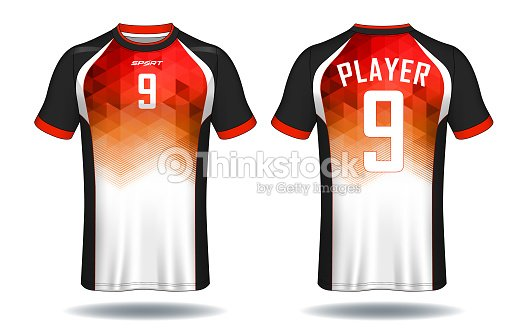 7a7034a41 Soccer Jersey Templatered And Black Layout Sport Tshirt Design stock ...