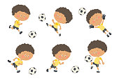 Soccer kid set. Cute boy playing football in yellow and black sport uniform. Goalkeeper catching a soccer ball. Cartoon vector eps 10 illustration on white background. Flat colors