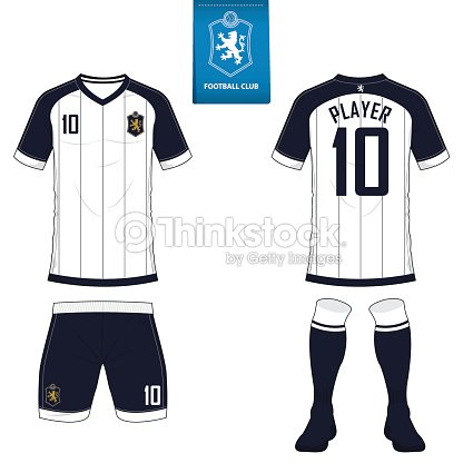 Soccer Kit Or Football Jersey Template For Club Short Sleeve Shirt Mock Up Front And Back View Uniform