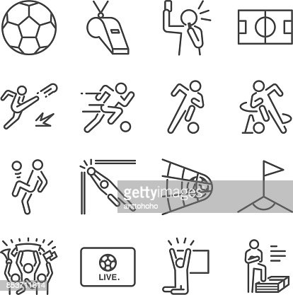Soccer line icon set. Included the icons as football, ball, player, game, referee, cheer and more. : Vector Art