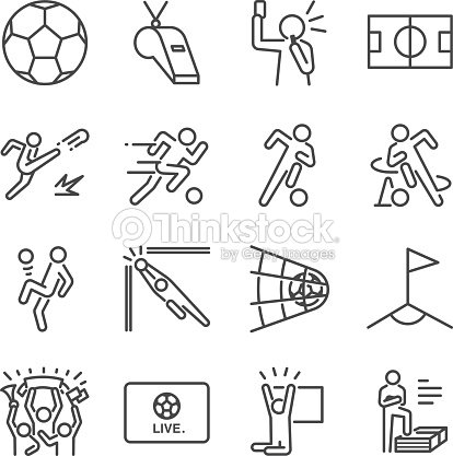 Soccer line icon set. Included the icons as football, ball, player, game, referee, cheer and more. : stock vector