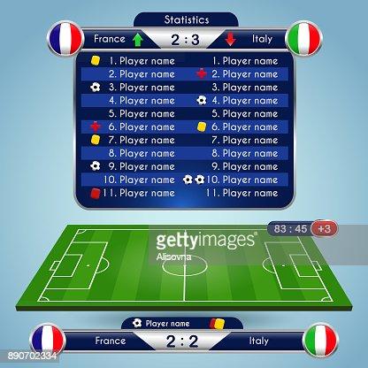 Soccer match statistics template : stock vector
