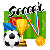 Soccer or football background with ball and football symbol. Sports illustration.