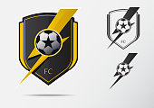 Soccer or Football Badge Design for football team. Minimal design of golden thunderbolt and black and white soccer ball. Football club icon in lightning black and white icon. Vector Illustration.