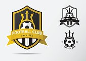 Soccer or Football Badge icon Design for football team. Minimal design of golden fork and golden ribbon. Football club icon in black and white icon. Vector Illustration.