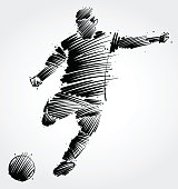 soccer player kicking the ball made of black brushstrokes on light background