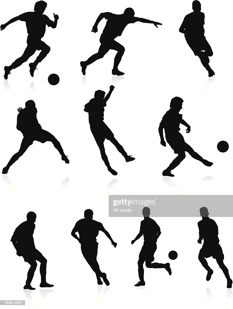 Soccer players - black silhouettes. : Vector Art