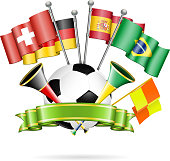 Soccer Poster with Soccer Ball, Flags, vuvuzela and ribbon, vector isolated on white background.