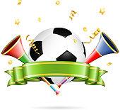 Soccer Poster with Soccer Ball, vuvuzela, ribbon and golden streamer, vector isolated on white background.