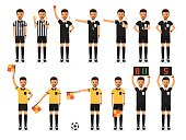 Soccer referees, football referees in actions on white background. Flat design characters.