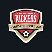 Soccer shield football badge crest graphic with text.