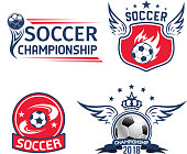 Soccer tournament or football championship sport emblem. Soccer ball shield and seal badge, decorated with wing, flame and motion trail, ribbon banner, crown and star for football sporting design
