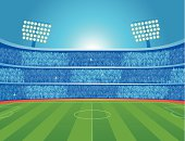 Illustration vector soccer stadium with crowd