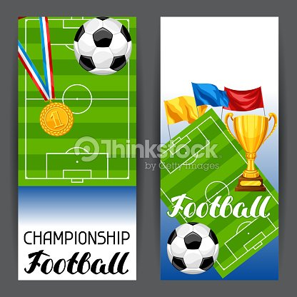 Soccer stylized banners with ball and football symbols. Sports illustration