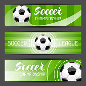 Soccer stylized banners with ball football symbol. Sports illustration.