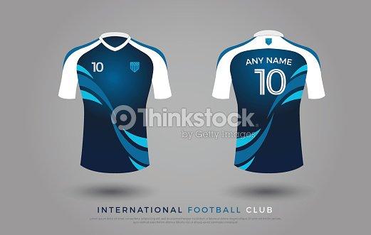 Sistema del fútbol t-shirt diseño uniforme del equipo de fútbol. plantilla  de jersey de fútbol para club de fútbol. hasta se burlan de color azul y  blanco 76327b5f4ea78
