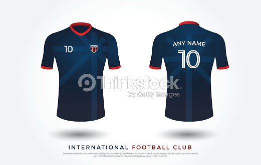 ae6bccf0f Soccer t-shirt design uniform set of soccer kit. football jersey template.  white, blue and red color, front and back view shirt mock up. japan  football club ...