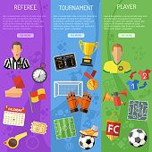 Three vertical Soccer banners with flat icons referee, championship, player and trophy. vector illustration