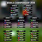 Soccer World Cup groups. Football World championship groups. Soccer world tournament 2018. Country flags. Vector illustration