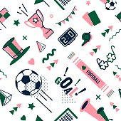 Soccer/football abstract background in 80s style. Seamless pattern for posers and cards. Vector illustration