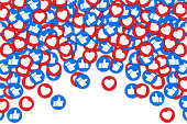 Social buttons thumb up like and red heart background. Social media likes falling background for advertisement, promotion, marketing, internet, SMM, CEO – for stock