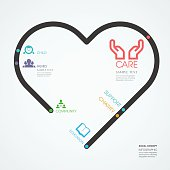 infographics vector heart design. social care and support concept diagram line style template