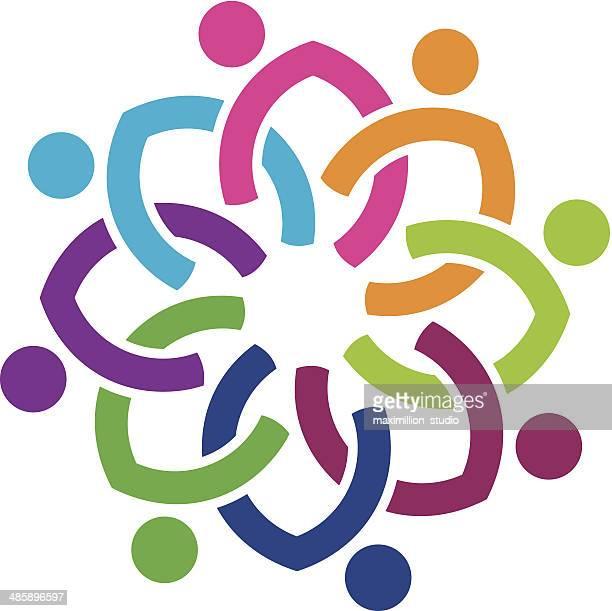 Colorato popolo di diversità sociale fiore icona logo