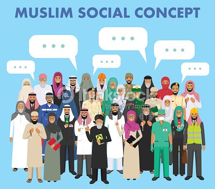 Social concept. Group muslim arabic people professions occupation standing together and speech bubble in different suit and traditional clothes on blue background in flat style. Arab man and woman