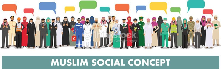 Social concept. Large group muslim arabic people professions occupation standing together in row and speech bubble in different suit and traditional clothes on white background in flat style. Vector