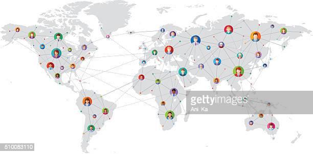 Concetto di rete sociale mondiale