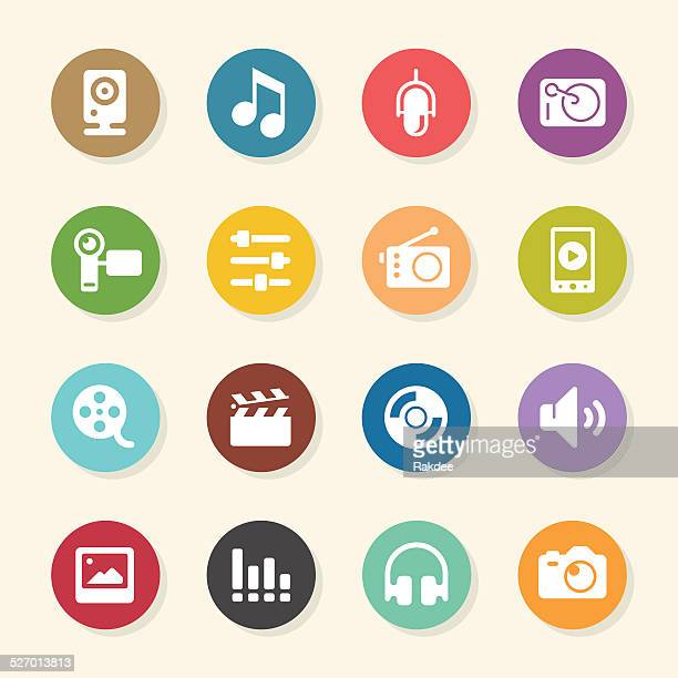 Social Entertainment Icons - Color Circle Series