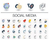 Isometric flat icon set. 3d vector colorful illustration with social media and digital technology symbols. Like, speech bubble, avatar, computer, web, mobile colorful pictogram Isolated on white