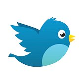 Social media blue bird vector isolated