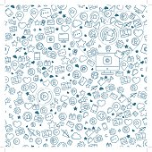 Flat linear seamless pattern of social media, social networking, mobile app, sharing, communication, and social commerce.