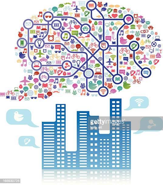 Social media cloud speech bubble above a city