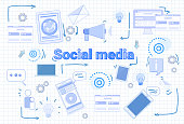 Social Media Communication Concept Internet Network Connection Banner Over Squared Background Vector Illustration
