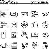 Social media, communication, personal profile, online posting and more, thin line icons set, vector illustration