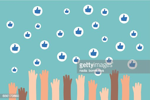 Social media competition. Raised hands trying to catch flying like signs / flat editable vector illustration, clip art : stock vector