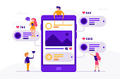 Social media concept banner with phone and small people around it having chat, mailing with likes and photos. Vector illustration in flat design with smartphone isolated on white background