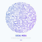 Social media concept in circle with thin line icons. of thumbs up, share, link, send e-mail, music, stream, comments. Vector illustration for banner, web page, print media.