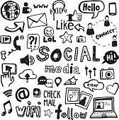 Set of vector doodles - can be used to illustrate social media, connectivity, online activities, technology.