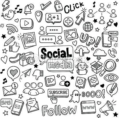 Los medios sociales y garabatos : arte vectorial