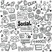 Social media vector doodles.