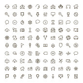 Social media icon set. Collection of high quality outline social network pictograms in modern flat style. Black internet  symbol for web design and mobile app on white background. Web line logo.