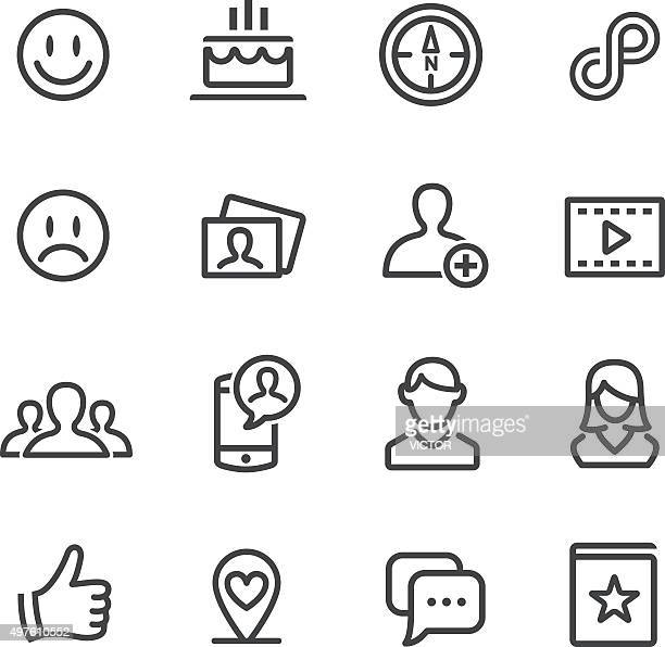 Media sociali icone Set-linea serie